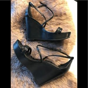 WHBM black leather wedges size 11
